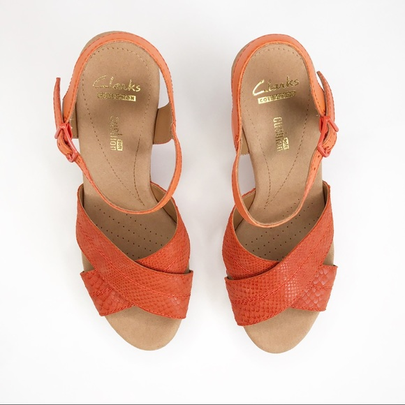 Clark's Helio Latitude Orange Cork Wedge Sandals